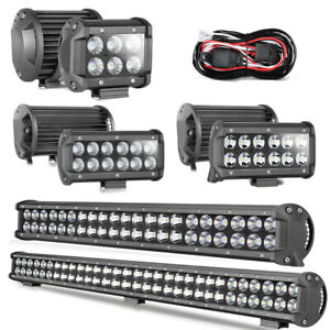 4 7 20 28 Inch Led Light Bar Pods Off Road Driving Lamp Spot Flood Fog Utv
