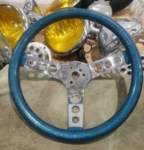 Vtg Metalflake Blue Steering Wheel Hot Rod Custom Muscle Car Vw Van Gasser Old