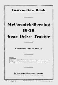 Mccormick deering 10 20 Instruction And Parts Book