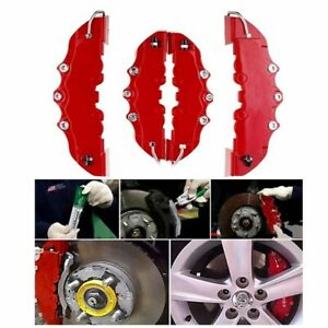 4pcs Plastic 3d Car Truck Red Disc Brake Caliper Covers Front Rear For 18 24inch
