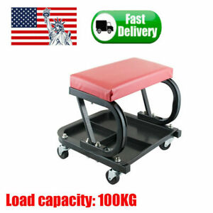 Mechanics Rolling Creeper Seat Stool Chair Tool Tray Car Auto Repair Garage Shop