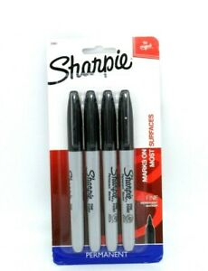 Sharpie Permanent Markers Fine Point Black Ink 4 count
