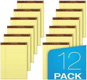 12 Ct Writing Pads Legal Ruled 8 5 X 11 75 Canary Yellow 50 Sheets Per Notepad