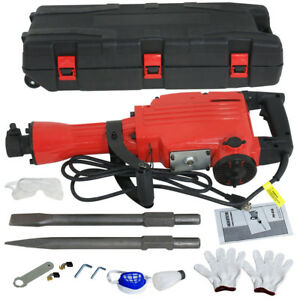 Demolition Jack 2200w Hammer Electric Concrete Breaker 2 Chisel 2 Punch Bit Set