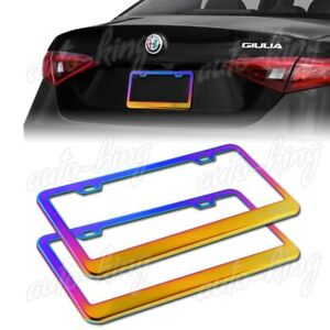 2 X Car Auto Metal License Plate Frame Holder Neo Chrome Stainless Front rear