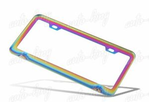 1 X Car Auto Metal License Plate Frame Holder Neo Chrome Stainless Front Or Rear
