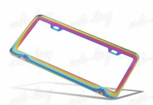 1pc Neo Chrome Stainless Steel License Plate Frame Holder Cover Front Or Rear