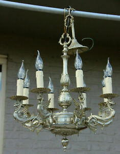 French Brass Silver Patina Gothic Castle 8 Arms Dragon Chandelier Lamp