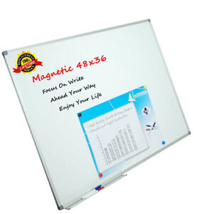 Lockways White Board Dry Erase Board Magnetic Whiteboard Framed With Marker Tray