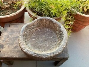 1750 S Antique Old Hand Caved Indian Stone Mortar Bowl Garden Decorative Bowl