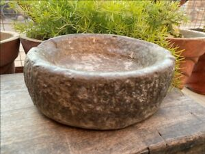 1700 S Ancient Old Hand Caved Indian Stone Mortar Bowl Garden Decorative Bowl