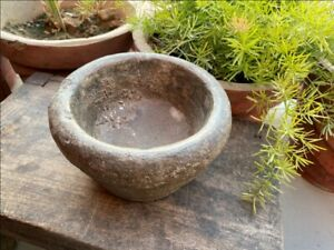 1800 S Ancient Old Hand Caved Indian Stone Mortar Bowl Garden Decorative Bowl