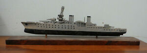 Vintage Wwii Folk Art Model Uss Indianapolis Wood Ship Old Paint
