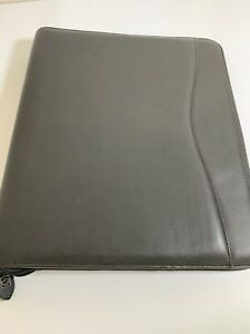 Daytimer Verona Black Leather Folio Size Zippered Planner