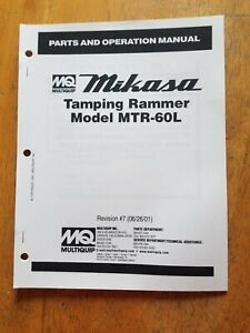 Multiquip Mikasa Mtr 60l Tamping Rammer Parts Operation Manual