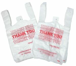 New 1000 Ct Plastic Shopping Bags T shirt Style Grocery White Small Size Bags