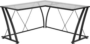 L shape Computer Desk With Clear Tempered Glass Top Black Metal Frame