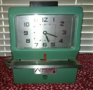 Acroprint Time Clock 125ar3 Manual Punch Heavy Duty With 2 Keys And Ink