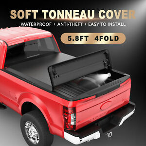 5 8ft 4 Fold Truck Bed Tonneau Cover For 09 21 Dodge Ram 1500 Cab Pickup Led