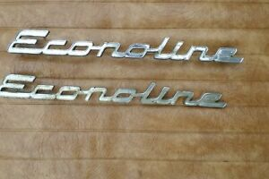 Metal 1961 1967 Ford Econoline Custom Van Wagon Oem Original Emblem Pair Used