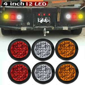6x 4 Round 12 Led Stop Turn Tail Lights Reverse Backup Trailer Red White Amber