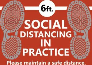 Social Distancing Safety Air Release Stickers With Uv Laminate Qty 6