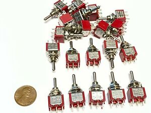 20 Pieces Momentary Mini Toggle Switch on off on 6 Pin 12vdc Dpdt 1 4 A5