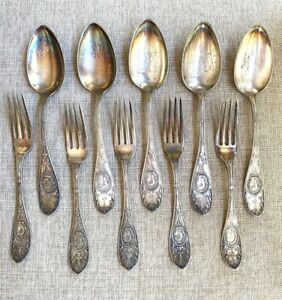 Silver Plate Vintage Hall Elton 1878 Medallion 6 Serving Spoon 5 Forks