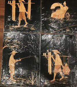 4 Panel Handcrafted Wood Art Marquetry Asian Peasant Figures 8 X 12 Each