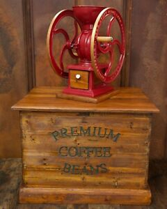 Antique Premium Coffee Beans Country General Store Bin Wooden Box Ultra Rare