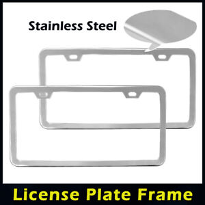 2 Hole Stainless Steel Slim License Number Plate Frame W Screw Caps Silver
