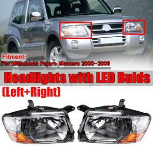 Pair Headlights Head Lamps Lights W Bulds For Mitsubishi Pajero Montero 2000 06
