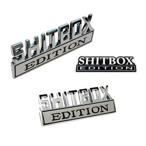 2pc Shitbox Edition Chrome Emblem Badges Fits Chevy Ford Car Truck