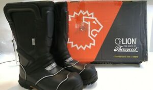 Lion Thorogood Shoes Structural Fire Boots Sz 12w black