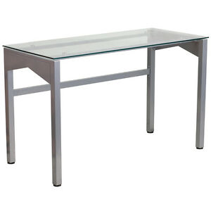 Modern Computer Desk With Clear Tempered Glass Top And Silver Metal Frame Finish