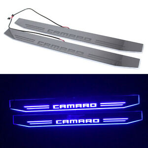 2x Chevrolet Camaro Dynamic Blue Led Car Door Pedal Light For Rs Ss Zl1