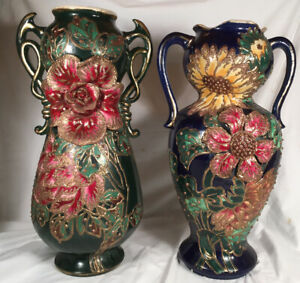 """ANTIQUE 18"""" PAIR Xtra Large Barbotine Vases Floral French Majolica Pottery Match"""