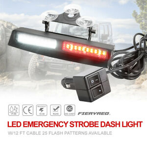 25 Flash Patterns Available Led Emergency Strobe Dash Red White Light 12ft Cable