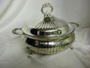 Lovely Large Silver Covered Casserole Entree Dish