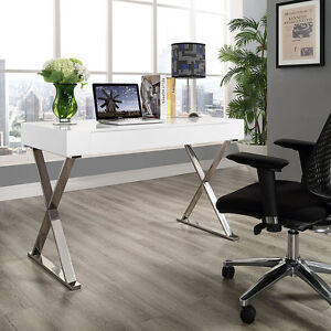 Modern Sleek Design Office Computer Desk With Stainless Steel Frame In White