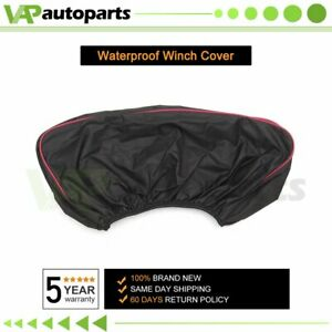 1pc Winch Cover Waterproof Heavy Dust Cover Fabric Oxford Textile Black 12000lbs