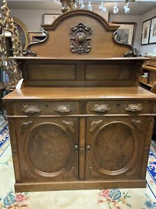 Antique 1800 S Victorian Walnut Ornate Sideboard Hutch Buffet Server Hand Carved