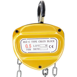 Chain Hoist Manual Chain Block 0 5 Ton 2 Hooks For Lifting Pulling Construction