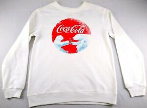 Love Tribe Women's Juniors White  Coca-Cola  Xmas Sweatshirt Sz M NWT