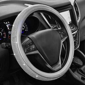 Car Steering Wheel Cover 15 38cm Gray Pu Leather grey With Clear Crystals