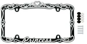 Chrome Black Metal Princess Crown License Plate Frame Car Auto Truck Tag Holder