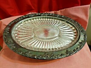 Gorham Original Vintage Silver Plated Serving Tray With Glass Insert Ep Yc1734