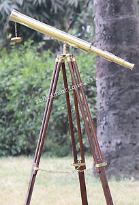 Royal Marine Single Barrel Brass Telescope With Brown Wooden Tripod Stand Decor