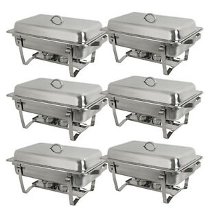 Catering 6 Pack Stainless Steel Chafer Chafing Dish Sets Full Size Buffet 8 Qt
