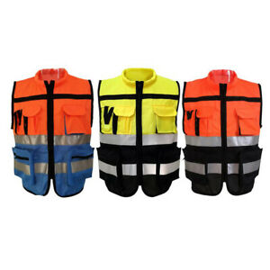 Unisex Safety Reflective Vest With Strips For Traffic Warning Construction L xxl